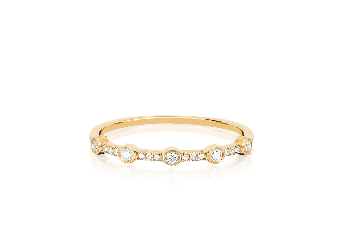 EF Collection 5 Diamond Bezel Stack Ring