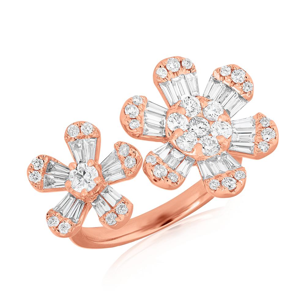 ANNE SISTERON 14KT YELLOW GOLD BAGUETTE DIAMOND DOUBLE DAISY RING