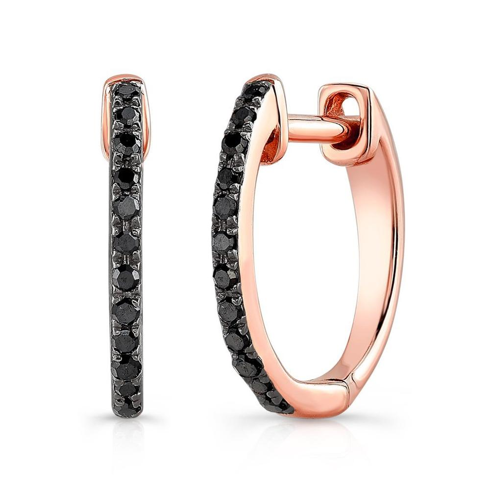ANNE SISTERON 14KT OXIDIZED ROSE GOLD BLACK DIAMOND ZOE HUGGIE EARRINGS