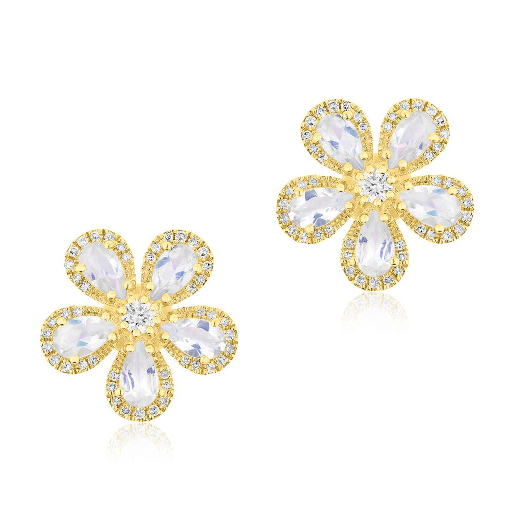 ANNE SISTERON 14KT YELLOW GOLD MOONSTONE DIAMOND FLOWER EARRINGS