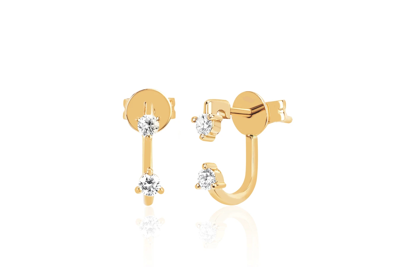 EF Collection Double Prong Set Diamond Earring