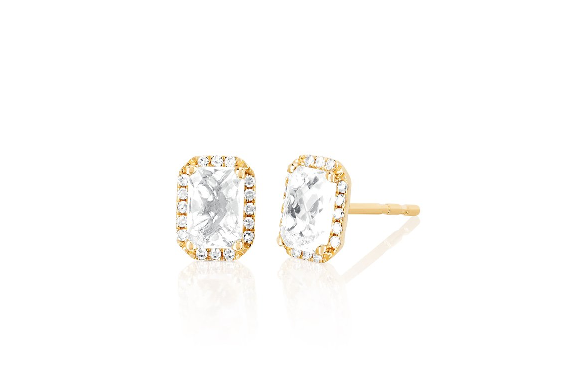 EF Collection Diamond & White Topaz Emerald Cut Stud Earring