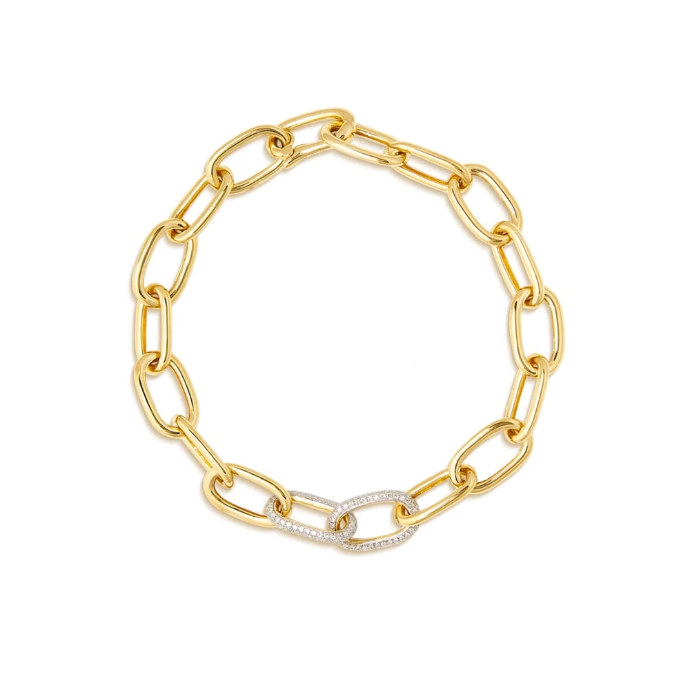 ANNE SISTERON 14KT YELLOW GOLD DIAMOND JANESSE CHAIN BRACELET