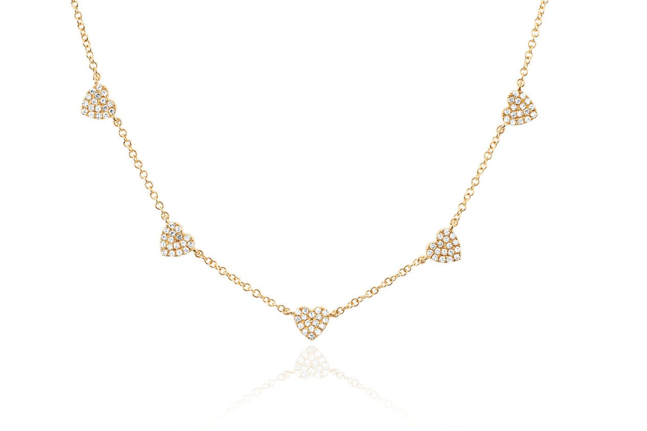 EF Collection 5 Mini Diamond Heart Necklace
