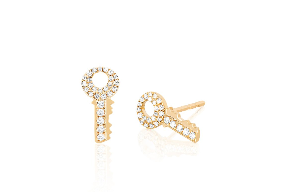 EF Collection Single Diamond Key Stud Earring