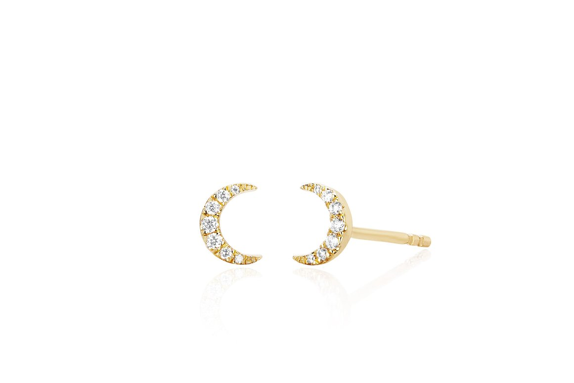 EF Collection Diamond Mini Moon Stud Earring