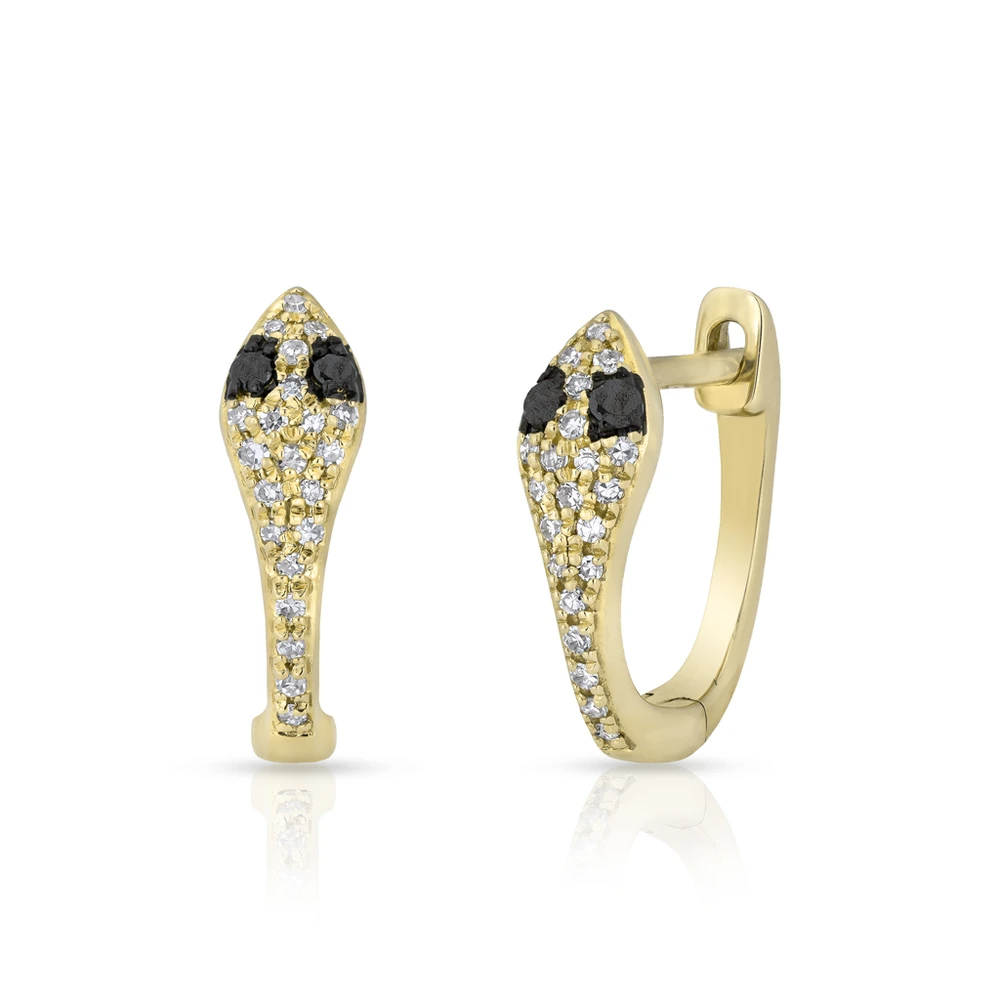 ANNE SISTERON 14KT YELLOW GOLD BLACK DIAMOND SNAKE HUGGIE EARRINGS