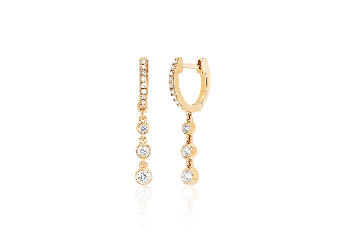 EF Collection Diamond Huggie With Three Bezel Drop Earring